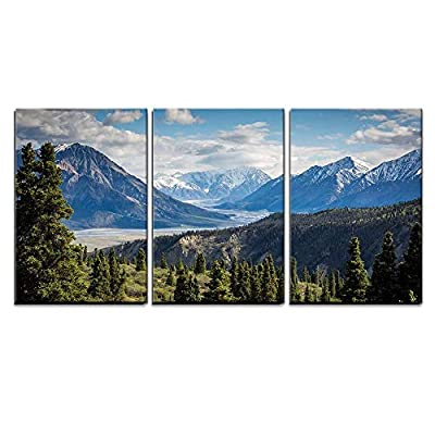 3 Piece Canvas Wall Art - Mountains Panorama Snowy Peaks and The Green Hills - Modern Home Art Stretched and Framed Ready to Hang - 24