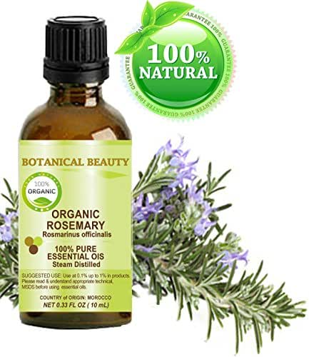 Organic ROSEMARY Essential Oil. 100% Pure Therapeutic Grade, Premium Quality, Undiluted, Steam Distilled. 0.33 Fl.oz.- 10 ml. by Botanical Beauty.