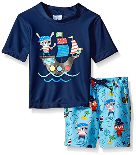 Kiko & Max Baby Boys Set With Short Sleeve Rashguard Swim Shirt, Pirate Navy, 12M