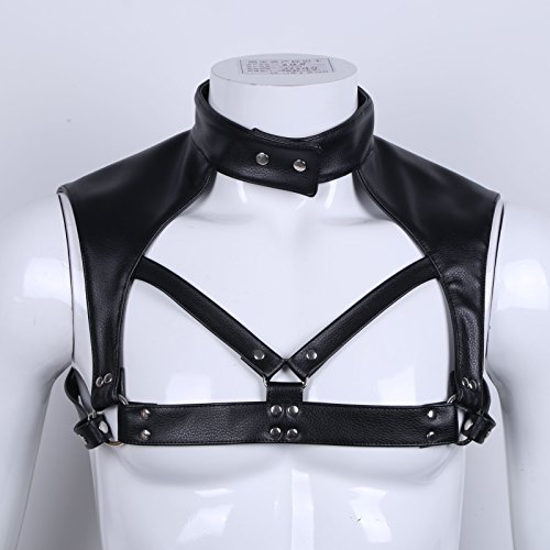 Freebily Men's Black Leather Shoulder Support Armor Body Chest Harness Costumes