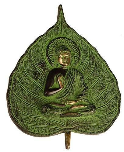 Aone India Leaf Buddha Wall Hanging Tibetan Buddha Brass Decorative wall Hanging Sculpture- Buddhist Home Decor + Cash Envelope (Pack Of (Art Deco Wall Masks)