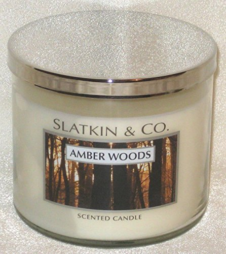 Slatkin & Co Scented Candle AMBER WOODS 14.5oz Bath & Body Works