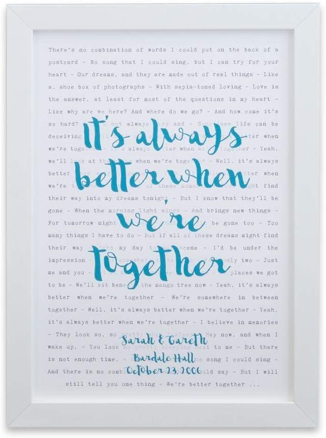 Not Just A Print Póster de tipografía con Texto en inglés Any Song Lyrics Enmarcado, Ideal para el día de la Madre, día del Padre, Regalo de Boda