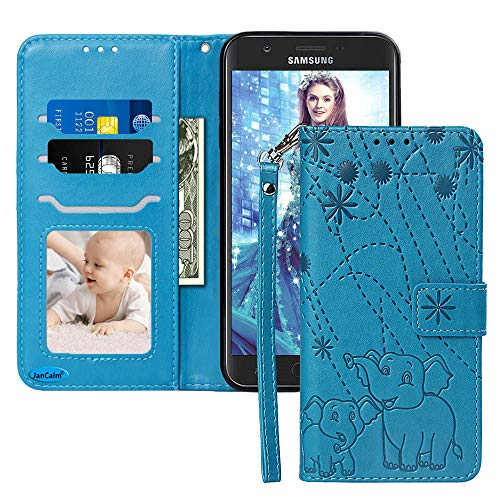JanCalm for Galaxy J7 Star Case,Galaxy J7 Crown Case,Galaxy J7 Refine/J7 2018 Case,[Wrist Strap][Elephant/Floral] Pattern PU Leather Wallet [Card Holder/Cash Slots] Stand Flip Magnetic Cover -