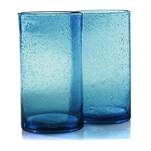 Artland Iris Seeded Turquoise Glass 17 Ounce Highball Tumbler, Set of 6 (Bubble Glasses Drinking)
