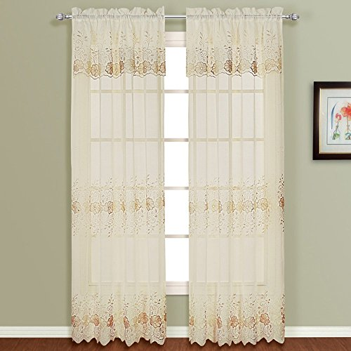 United Curtain Marianna Embroidered Curtain Panel with Attached Valance Review