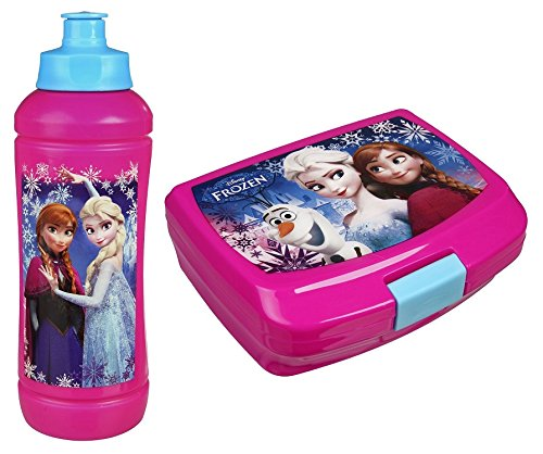 f/ür den Kinder-Garten Rucksack-Set mit Brotdose und Trinkflasche z.B Familando FRZH7601 Disney`s Eisk/önigin 3tlg