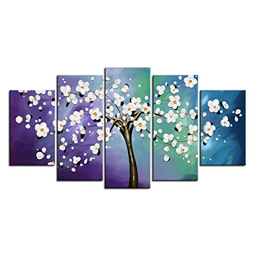 sechars - 5 Pieces Modern Canvas Painting Wall Art White Flowers on Changing Teal Blue Purple Background Picture Giclee Prints Floral Artwork for Home Walls - Floral Giclee Print Print