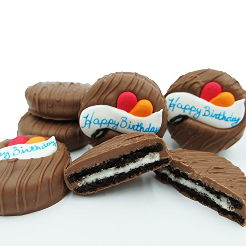 Philadelphia Candies Milk Chocolate Covered OREO Cookies, Happy Birthday Gift Net Wt 8 - Cookie Bouquet Birthday Happy