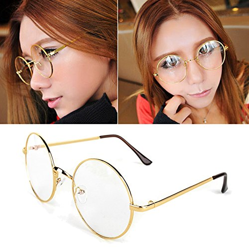Jocestyle Women Dress Up Spectacles Halloween Party Cosplay Round Frame Glasses (02 Golden)