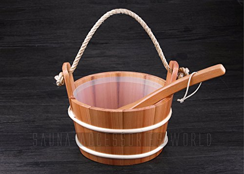 4 L Red Cedar Finnish Style Sauna Bucket And Ladle Sauna Accessories