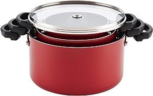 Farberware 20479 Neat Nest Space Saving Aluminum Nonstick Saucepot Set - Red44; 6 Piece