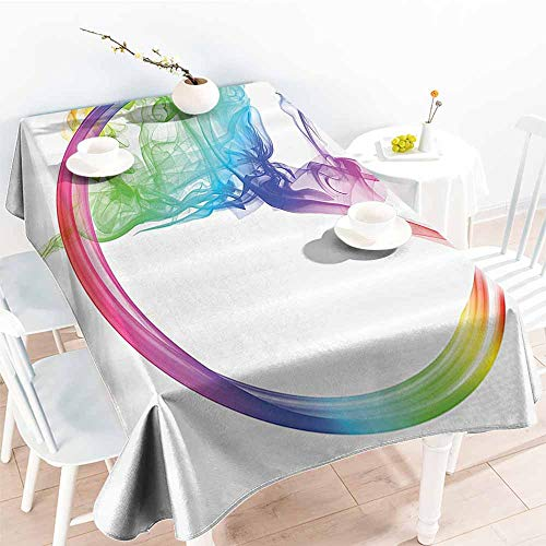 Waterproof Tablecloth Abstract Home Decor Collection Smoke Dance Shape Silhouette of Dancer Ballerina Rainbow Colors Fantasy Image Blue Yellow Table Decoration W70 xL84