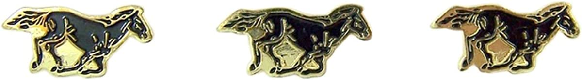 Pack of 3 Mustang School Mascot Gold Toned with Enamel Lapel Pin