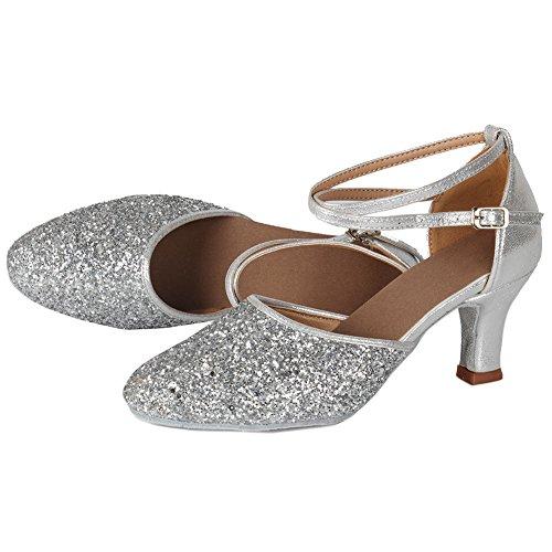 tacón zapatos Zapatillas Swdzm 7cmplateado Lentejuelas Baile Mujer Es 7cm 5cm De 1802 Para Modelo 0qBw1a