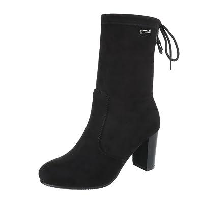 Ital-Design Klassische Stiefeletten Damen-Schuhe Klassische Stiefeletten  Pump Moderne Schnürsenkel Stiefeletten Schwarz,