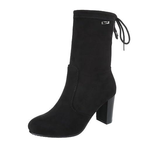 Zapatos para Mujer Botas Mini tacón Botines clásicos Ital-Design: Amazon.es: Zapatos y complementos