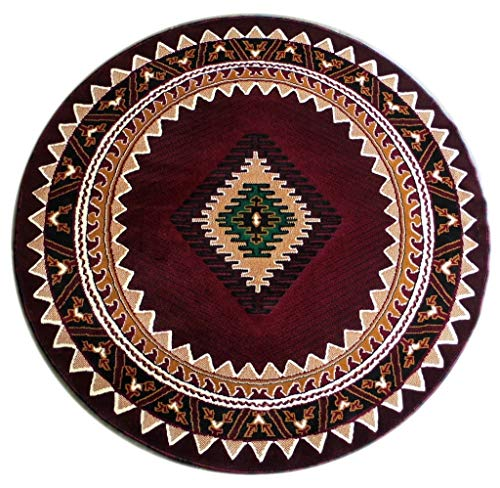 Kingdom South West Native American Rug Burgundy Design #143 (5 Feet X 5 Feet) Round