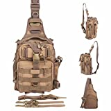 BLISSWILL Outdoor Tackle Bag Multifunctional Water-Resistant Fishing Bag Single Shoulder Bag Crossbody Fishing Backpack Fishing Gear Storage Bag Hunting Backpack (Khaki)