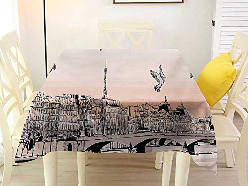 Woodland Panorama Bleach Wood - L'sWOW Home Decor Square Tablecloth Landscape Panorama Sketch Art Sunset View of Paris from Pont Des Arts with Pigeons River Peach Grey Clean 54 x 54 Inch