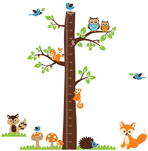Owl Staning on the Tree Growth Chart Height Chart Wall Decal Wall Decor for Nursery Kids Magic Piggy