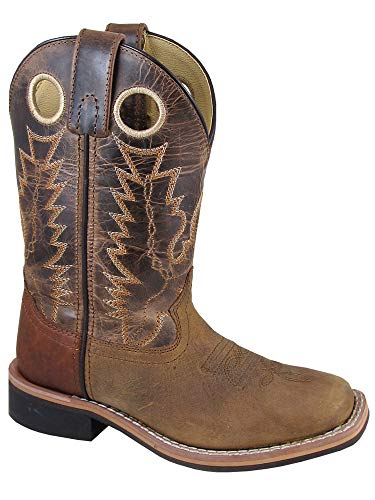Riding Boots Cowboy Western - Smoky Children's Jesse Embroidered Leather Western Cowboy Boots - Brown Crackle