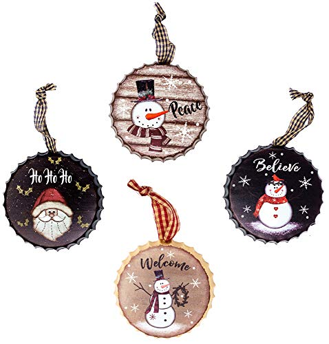 - Harbor 55 Christmas Snowman Ornament Decorations Set of 4, Metal Bottle Caps, Painted, Santa, Frosty, Round 4
