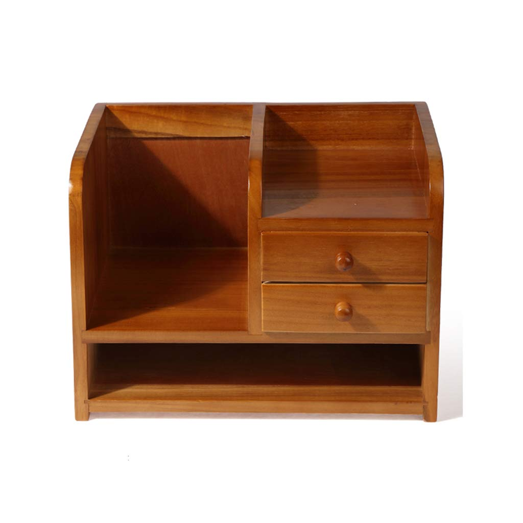 LCSHAN Desktop File Cabinet Solid Wood Drawer Type Stationery File Book Debris Sorting Box Desk Shelf (Color : B Style) by File Shelf