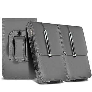 Samsung Galaxy Ace 2 I8160 protección pu estuche de cuero de la correa de la pistolera del tirón del caso de la cubierta del sostenedor y del lápiz óptico retráctil (Twin Pack) Grey por Spyrox