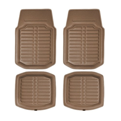 FH Group F14409SOLIDBEIGE-FRONT-AVC Floor Mat (Front Set Only Solid Beige s Deep Tray All -
