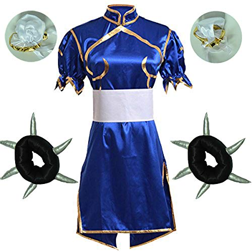 Street Fighter Chun Li Cosplay Costume Headwear Bracelet 4 Pcs Set (Women L) -