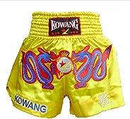 Golden Satin MMA Shorts Kick Boxing Brief Muay Thai Trunks Embrodery Dragon, XXL