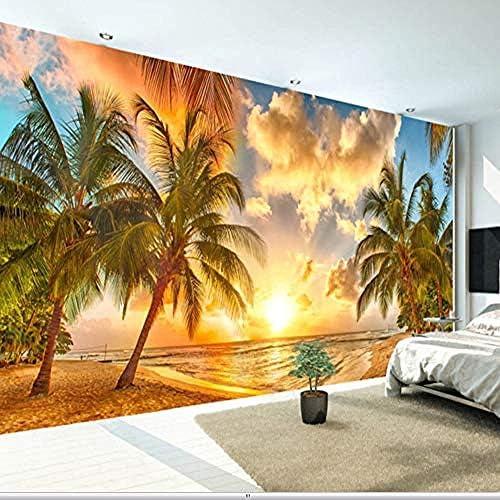 カスタム3D自然壁画壁紙自然風景壁の夕日海ココナッツビーチHd背景壁リビングルームの壁紙3D-150X120Cm