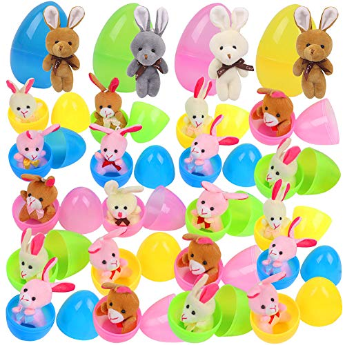 Koogel 24Pcs Bunny Easter Eggs,2 Different Sizes Easter Egg Plush Easter Bunny Plush Pre Filled Plastic Easter Eggs for Looking for Easter Eggs Classroom Exchange Toy Filled Easter Eggs