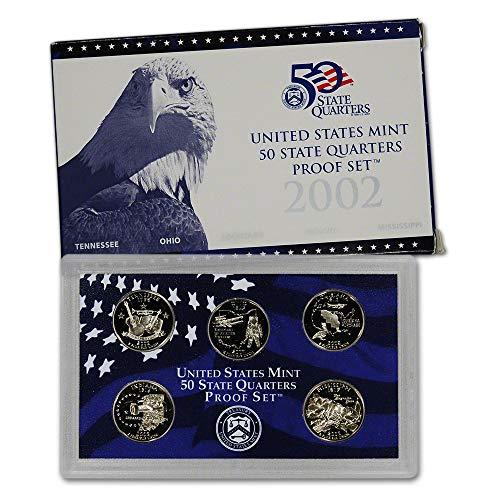 (2002 S U.S. Mint Proof State Quarter Set - 5 Coins - OGP Original Government Packaging Superb Gem Uncirculated)