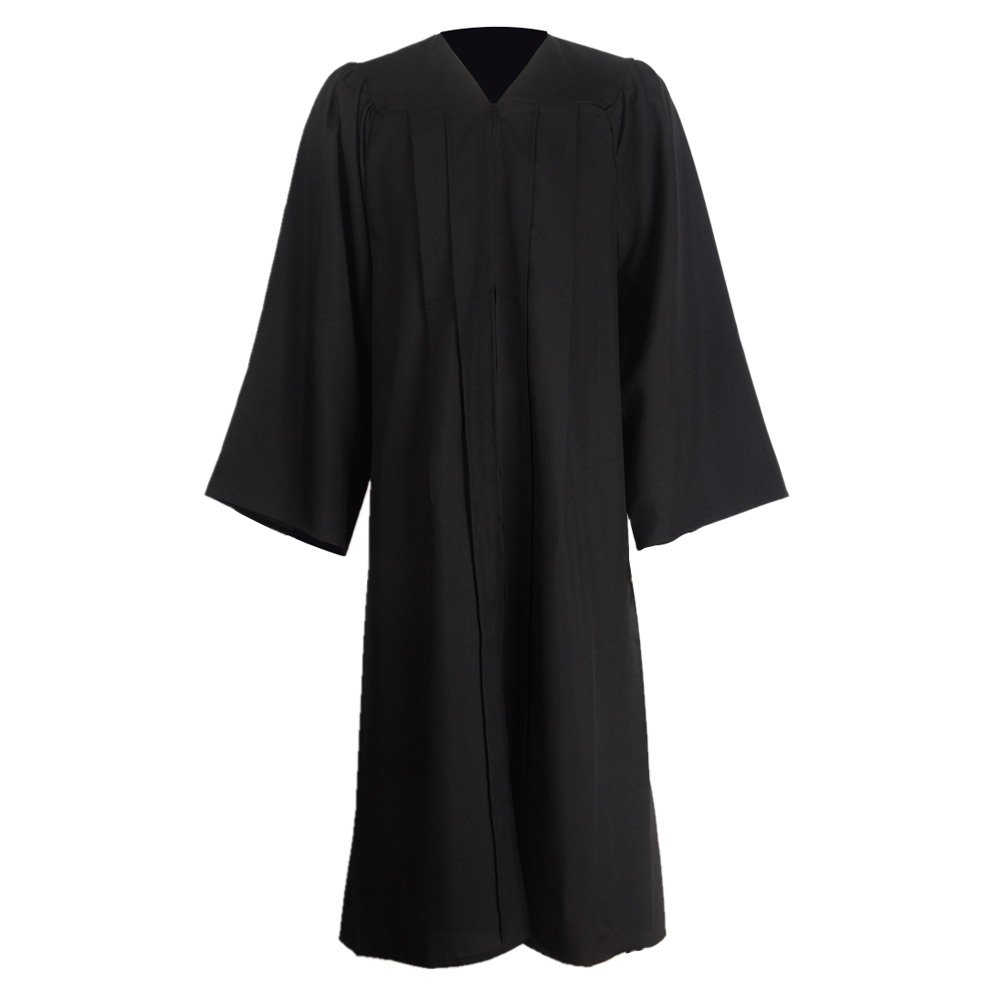 GraduationMall Unisex Premium Matte Graduation Gown Only Black XX-Small 39(4'6''-4'8'') by GraduationMall
