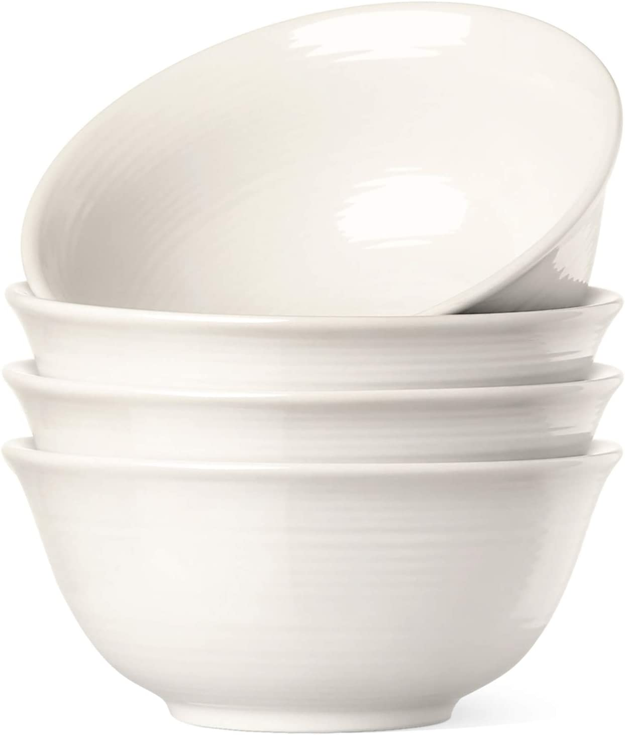 Le Tauci 4 Piece Cereal Soup Bowls Set, 18 Ounce White
