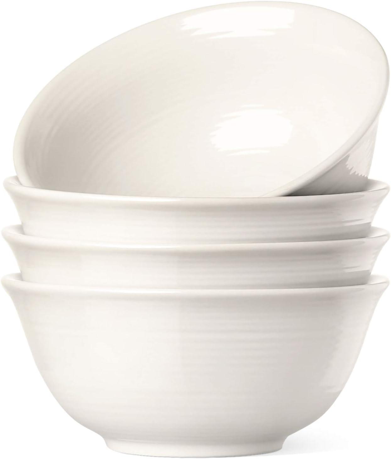 Le Tauci 4 Piece Cereal Soup Bowls Set, 18 Ounce White