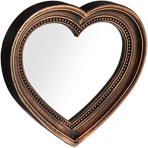 Angel s Treasure 13 x 12 Heart Shaped Wall Mounted Mirror, Vintage Antique Bronze Style