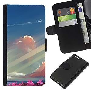 Protector de cuero de la PU de la cubierta del estilo de la carpeta del tirón BY RAYDREAMMM - Apple Iphone 5C - Resumen Mar Pintura