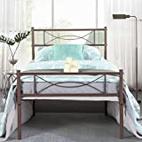 SimLife Metal Twin Bed Frame 6 Legs Two Headboards Mattress Foundation Platform Bed Box Spring Replacement Under-Bed Storage Easy Assembly Bed Support for Kids Adults Brown