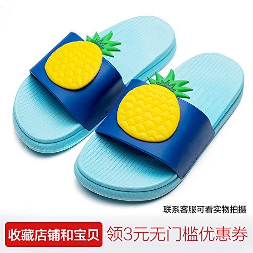 FankouEl precioso fruto zapatillas de baño femenino Verano suave antideslizante parejas inferior a casa de una familia de tres interiores cool arrastre y ,220 (21cm), la piña azul