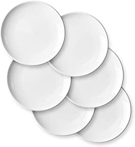 Porcelain Appetizer Plates Set - Delling 7 Inches White Dessert/Salad Plate - Small Kitchen Dinnerware Dishes Set for Snacks, Appetizer, Ice Cream- Serving Plates Set, Set of 6