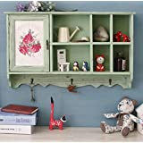 European-style solid wood retro old wall-mounted storage living room wall bedroom restaurant shops wall cabinets lockers , green