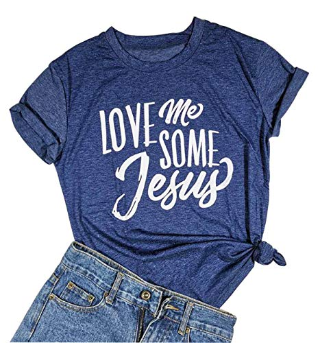 Women Love Me Some Jesus Shirts Cute Letter Print T Shirt Short Sleeve Casual Tops Tee(Large) Blue -