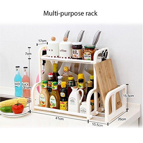 2 Tier Standing Rack, Kitchen Bathroom Countertop Cabinet Storage Organizer Spice Jars Bottle Utensil Knife Shelf Holder Rack, Shelf with Stainless Steel Support. (White)