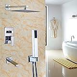 "Rozin Bath 3-way Mixer 12"" Rainfall Shower Set Tub Spout Tap + Handheld Spray Chrome"