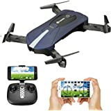 Quadcopter with 2.0MP Wide-Angle HD Camera Live Video, EACHINE E52 BLUE FPV Selfie Pocket Drone WiFi APP Control Altitude Hold RC Helicopter