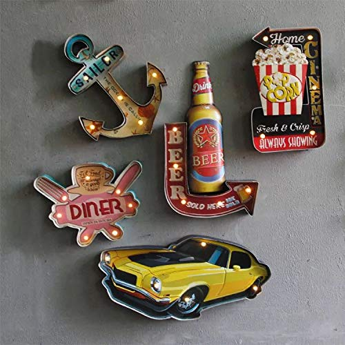 Vintage Handmade Metal Marquee Embossed Tin Decor, Industrial Style Light Up Sign, for Home, Bar or Cafe Wall Decor, On/Off Switch (Car).