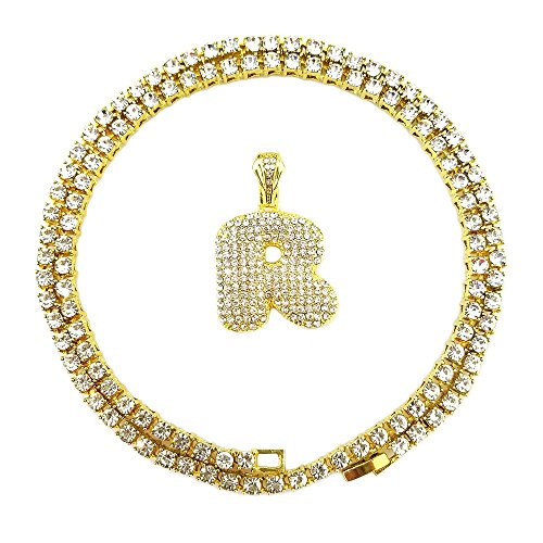 Hip Hop Diamond Necklaces - HH Bling Empire Iced Out Hip Hop Gold Faux Diamond Bubble Dripping Letter Tennis Chain Necklace 20 Inch (Bubble Letter R)